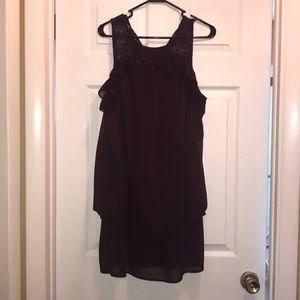 Burgundy chiffon dress